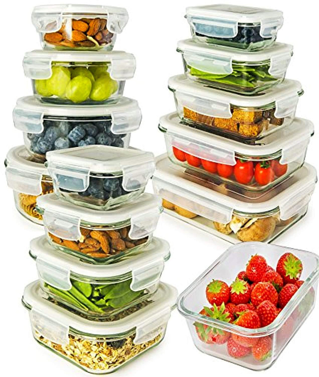 13-Pack Glass Containers with Lids