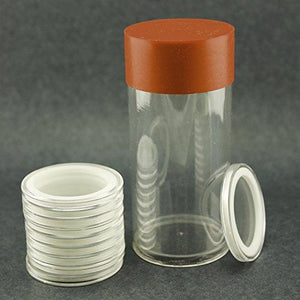 (1) Airtite Coin Holder Storage Container & (10) White Ring 19Mm Air-Tite Coin Holder Capsules For Indian Head Lincoln Penny Cents