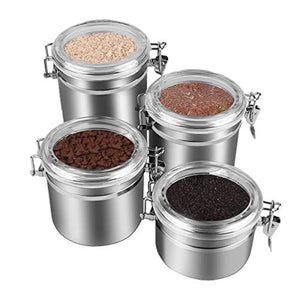 4 Piece Stainless Steel Airtight Canister Set