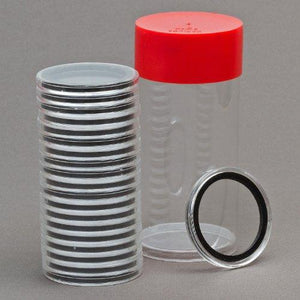 (1) Airtite Coin Holder Storage Container & (20) Black Ring 37Mm Air-Tite Coin Holder Capsules For 1Oz Silver Philharmonics And $7 Silver Strikes Token