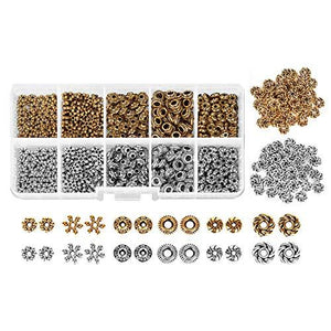600 pcs Spacer Beads Box Kit Jewelry Findings Beading, Antique Tibetan Silver Bronze Assortment