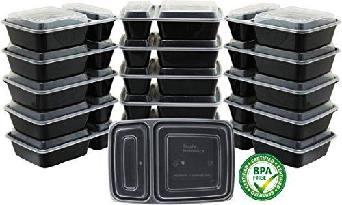 - Simplehouseware 2-Compartment Reusable Meal Prep Storage Container Boxes (28 Ounces)