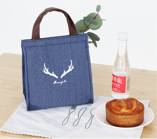Denim Lunch Tote Bag Waterproof Oil-proof Cooler Insulated Handbag Storage Containers
