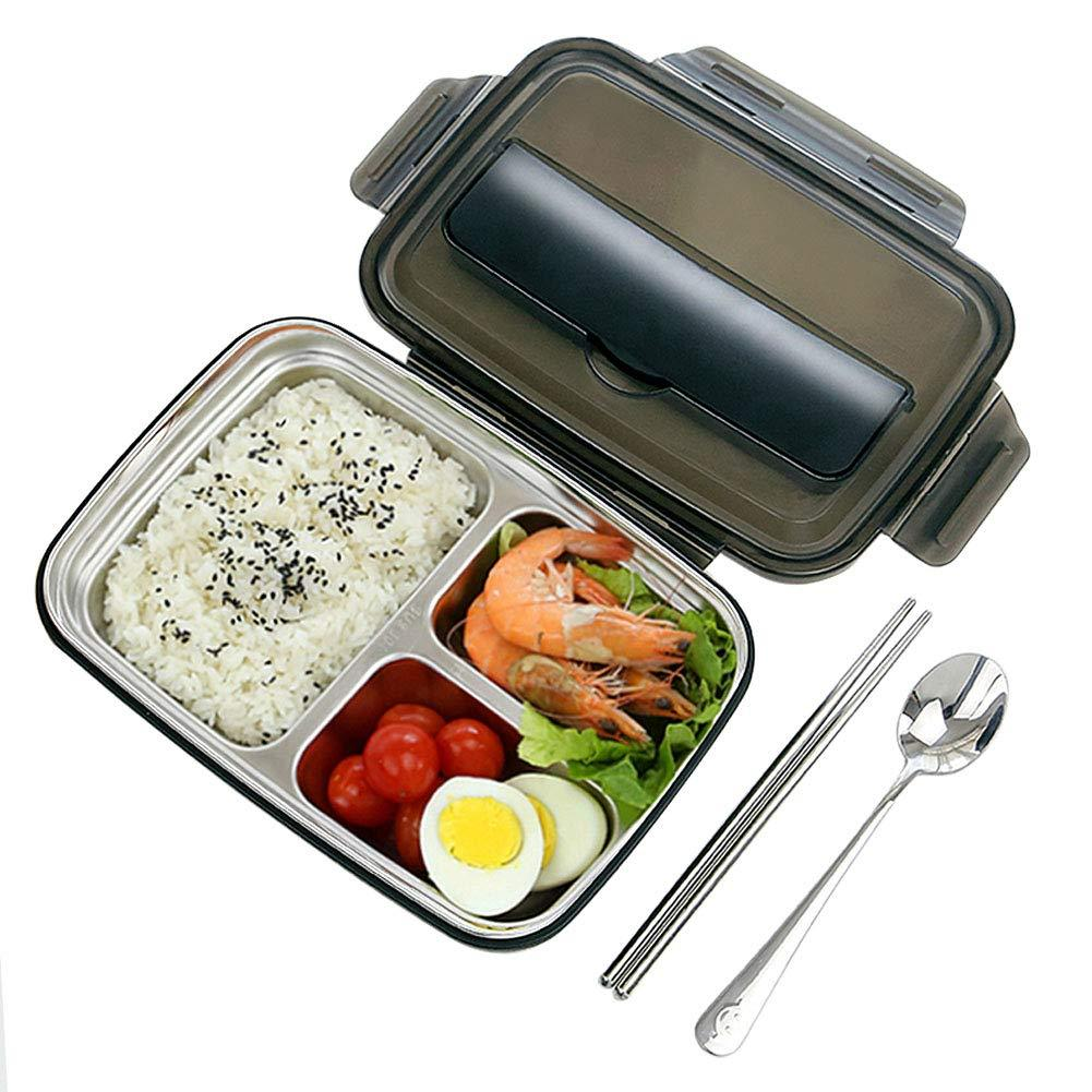 3 Compartment Bento Lunch Box, Insulated Stainless Steel Square Food Storage...