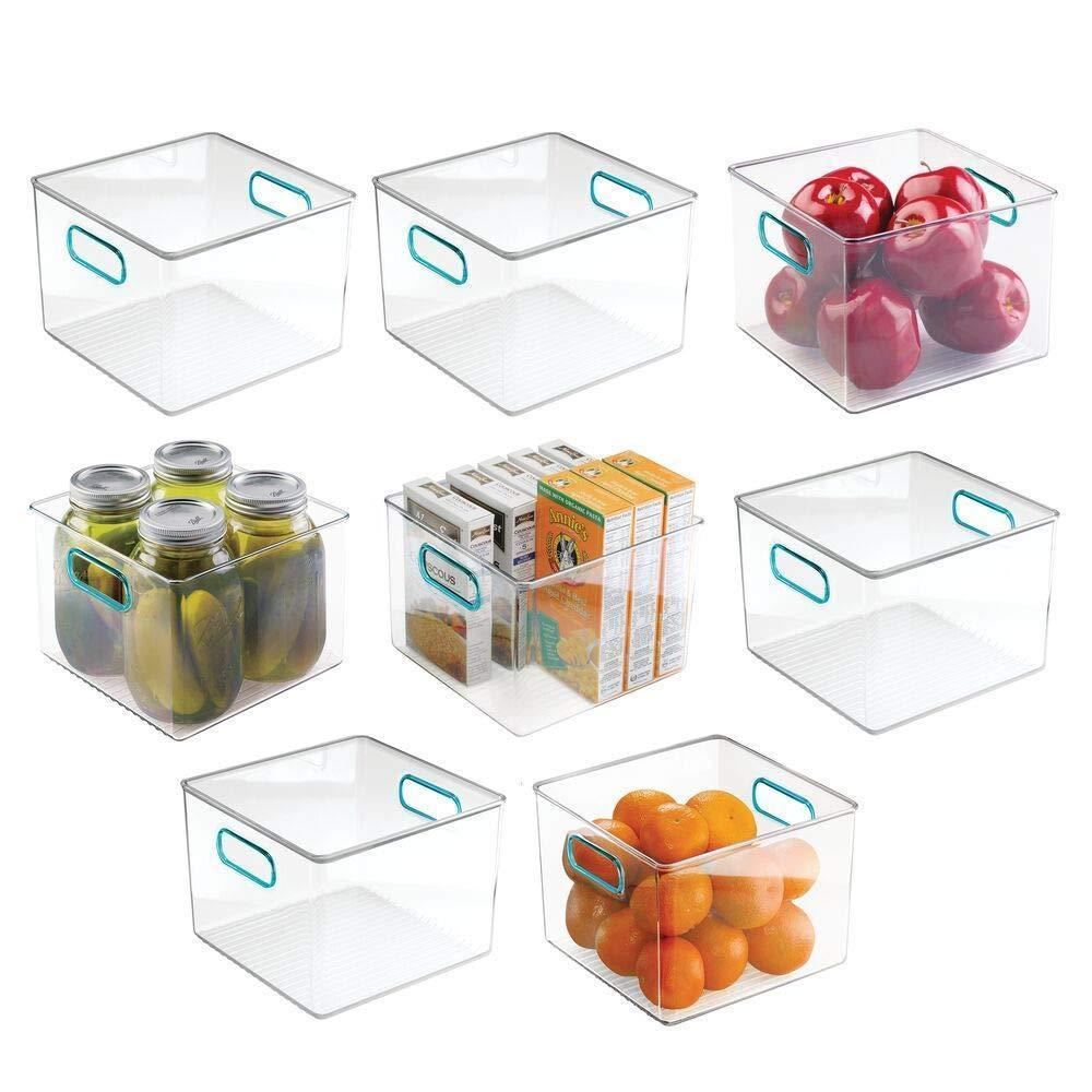 mDesign Plastic Food Storage Container Bin with Handles for Kitchen, Pantry, Cabinet, Fridge/Freezer - Cube Organizer for Snacks, Produce, Vegetables, Pasta - BPA Free, Food Safe - 8 Pack, Clear/Blue
