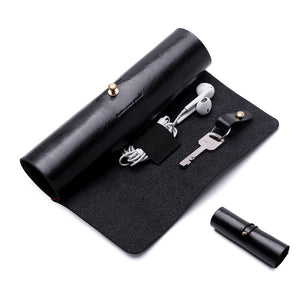 BoomYou Leather Wallet Roll Up Case Pen Case Storage Roll Bag Pencil Sleeve Keys Holder for Surface/iPad Touch Pen Data Cable Makeup - Leather Creative Personality Retro Style - Black
