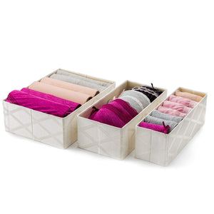 Foldable Closet Drawer Organizer, Set of 3 Storage Containers, Moisture, and Dust-Proof Storage Baskets- Beautiful Textured Fabric- Sturdy Build- Perfect for Home and Office (Galliana)