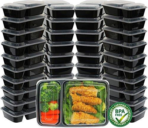 - Simplehouseware 2 Compartments Reusable Meal Prep Storage Container Boxes, 28 Ounces