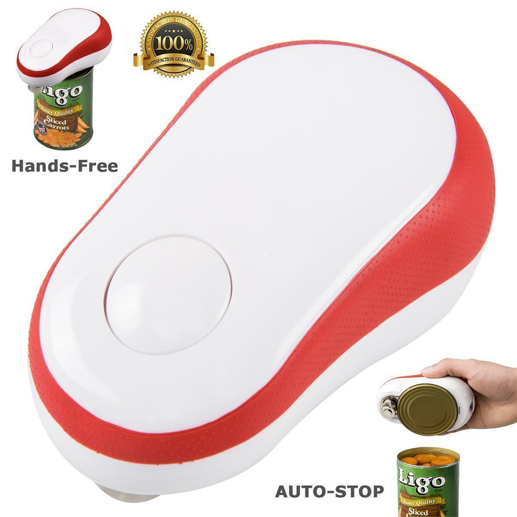 Electric Can Opener, Restaurant Can Opener, Can Master Automatic One Touch Hands Free Smooth Edge Can Opener for Arthritis (Red)