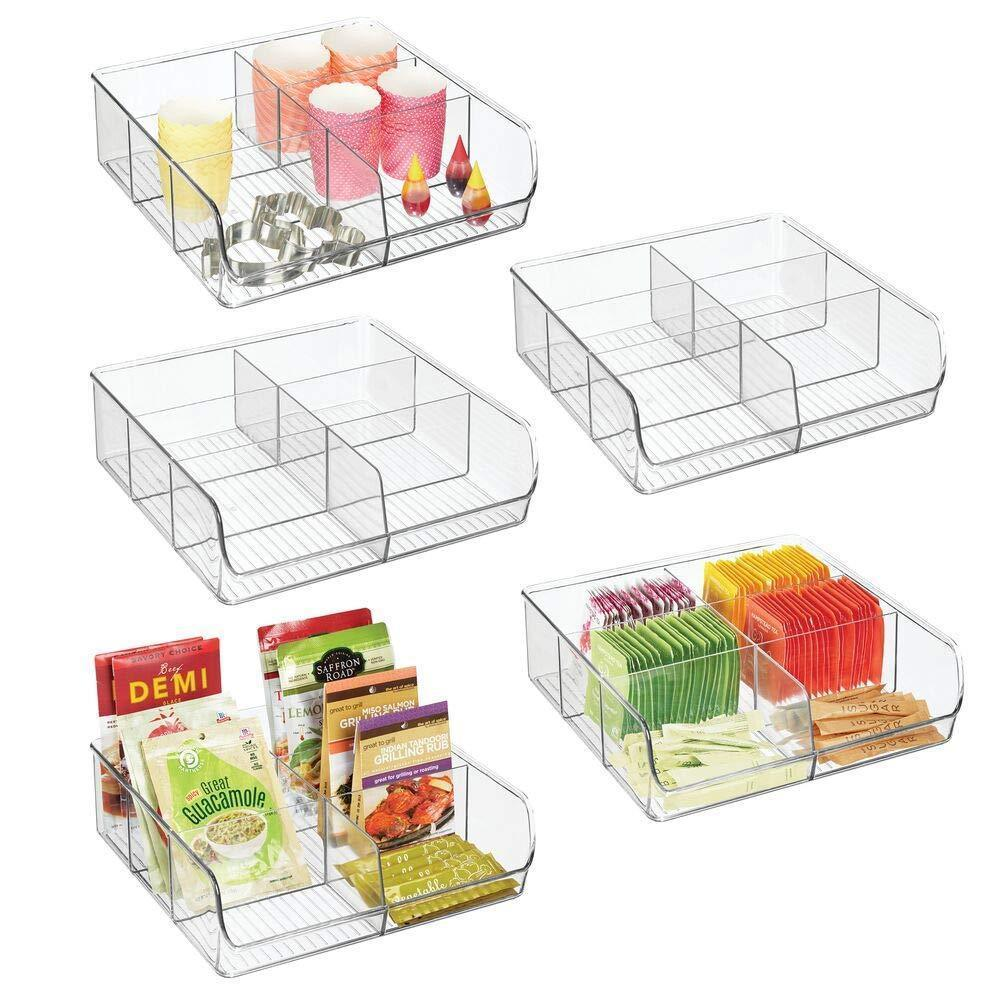 mDesign Plastic Wide Food Storage Organizer Bin Caddy for Kitchen, Pantry, Cabinet, Countertop - Holds Baking Supplies, Spices, Pouches, Dressing Mixes, Tea, Sugar Packets, 6 Sections, 5 Pack - Clear