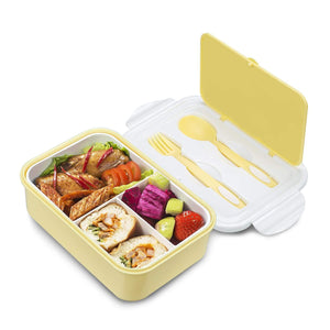 Bento Box for Adults & Kids with 3 Compartment Portion, Leakproof Yellow