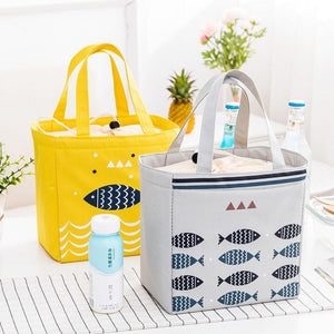 Portable Drawstring Lunch Tote Bag Picnic Bag Cooler Insulated Handbag Food Storage Container
