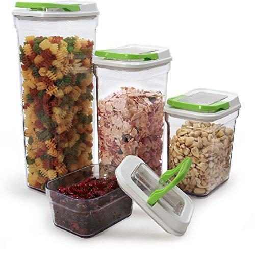 Carteret Collections Stackable, Airtight Locking Lid Food Storage Container Set, 4 Piece