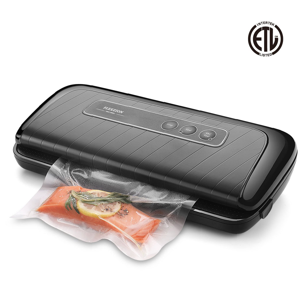 Flexzion Vacuum Sealer - Automatic Vacuum Air Sealing Machine System with Bags, Rolls, Vacuum Hose Starter Kit for Dry, Moist, Fresh Foods Storage, Food Preservation Saver, Sous Vide (Black)