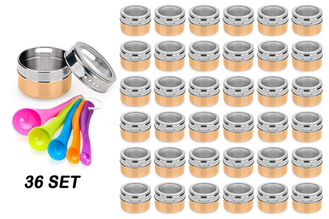 Stainless Steel Magnetic Spice Jars - Bonus Measuring Spoon Set - Airtight Kitchen Storage Containers - Stack on Fridge to Save Counter & Cupboard Space - 36pc Organizers in Gold