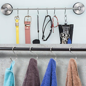 Kitovet medium S hooks heavy-duty stainless steel S shaped hanging hooks, for hanging metal kitchen pot pan hanger storage rack closet S type hooks multiple uses.