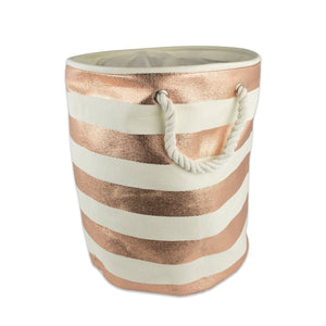 "DII Woven Paper Storage Basket or Bin, Collapsible & Convenient Home Organization Solution for Office, Bedroom, Closet, Toys, & Laundry (Small Round - 12x14""), Copper Rugby Stripe"