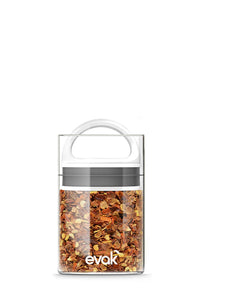 Best PREMIUM Airtight Storage Container for Coffee Beans, Tea and Dry Goods - EVAK - Innovation that Works by Prepara, Glass and Stainless, White Gloss Handle, Mini