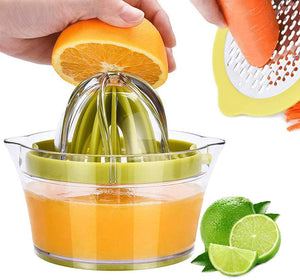 Drizom Citrus Lemon Orange Juicer Manual Hand Squeezer with Built-in Measuring Cup and Grater, 12OZ, Green