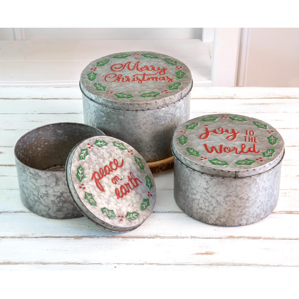 Set of Three Christmas Storage Containers