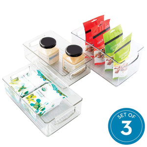 iDesign Plastic Storage Bin with Handles for Kitchen, Fridge, Freezer, Pantry, and Cabinet Organization, BPA-Free, Set, Clear