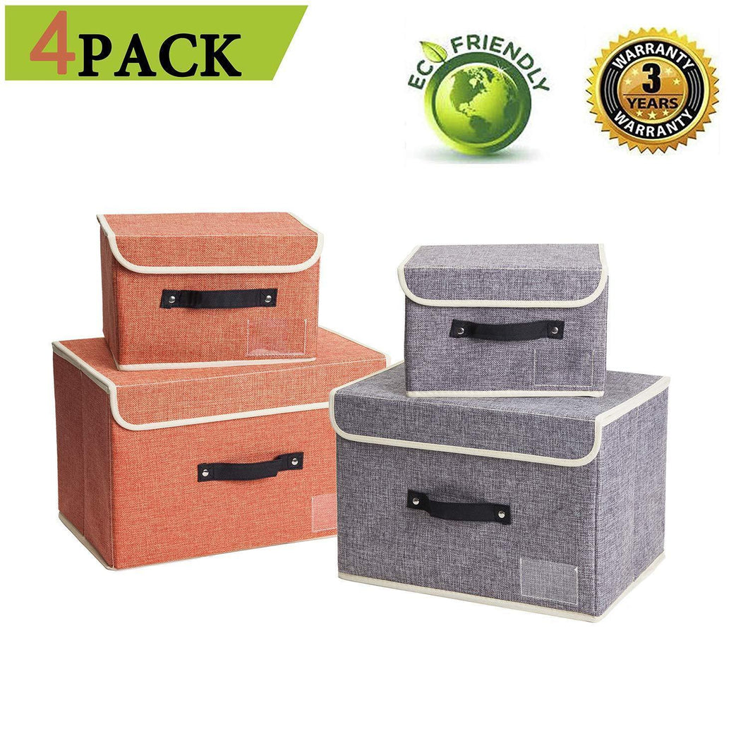 Jane's Home 4 Pack Storage Bins Boxes Linen Collapsible Cube Set Organizer Basket with Lid & Handle, Foldable Fabric Containers for Clothes, Toys, Closet, Office, Nursery (Grey and Orange)