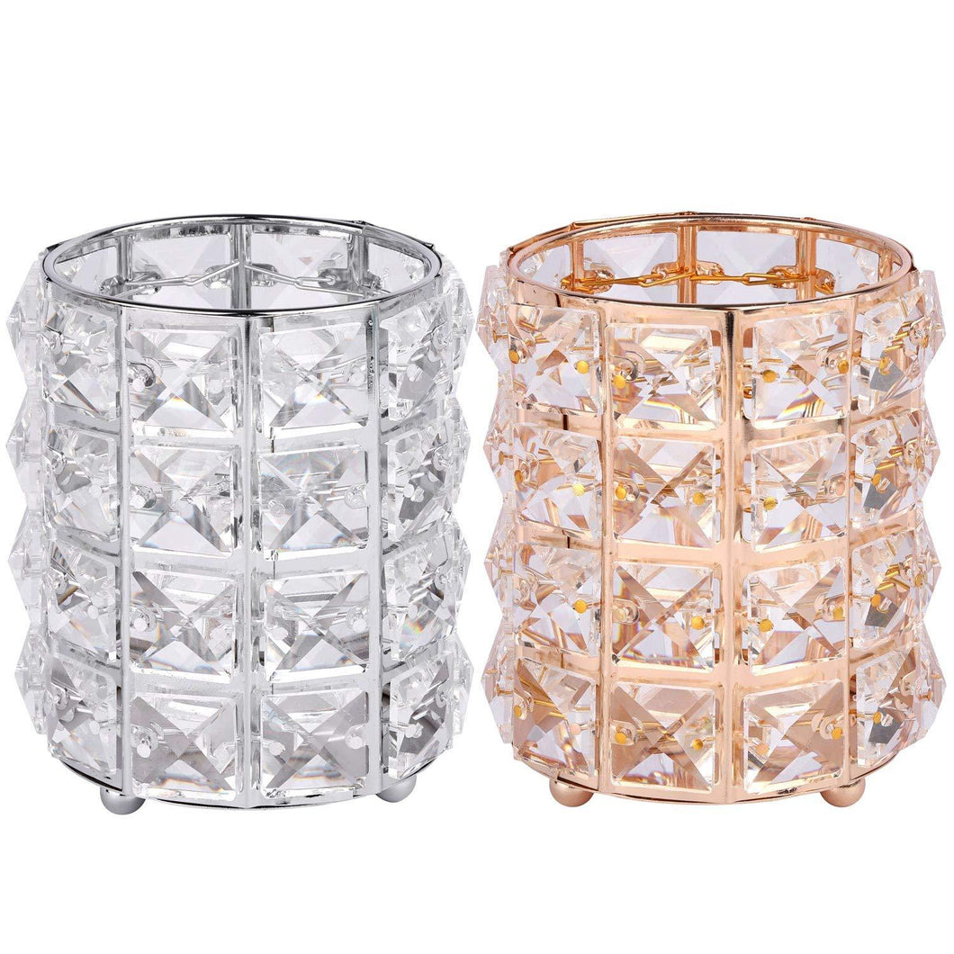 2 Pcs Crystal Rotating Makeup Brush Holder Organizer Bling Eyebrow Comb Brushes Pen Pencil Cosmetic Storage Containergold+Sliver