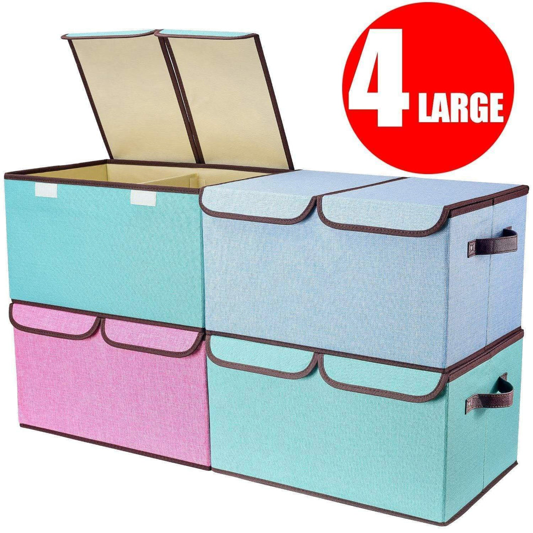Larger Storage Cubes [4-Pack] Senbowe Linen Fabric Foldable Collapsible Storage Cube Bin Organizer Basket with Lid, Handles, Removable Divider For Home, Office, Nursery, Closet - (17.7 x 11.8 x 9.8