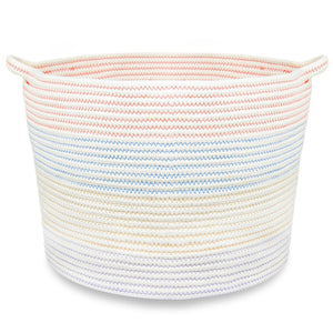 "Cotton Rope Storage Basket with Handles for Laundry, Kid's Toys, Nursery, Home Decor, Closet Organization,18""x11.5""(White and Colour Stitching)"