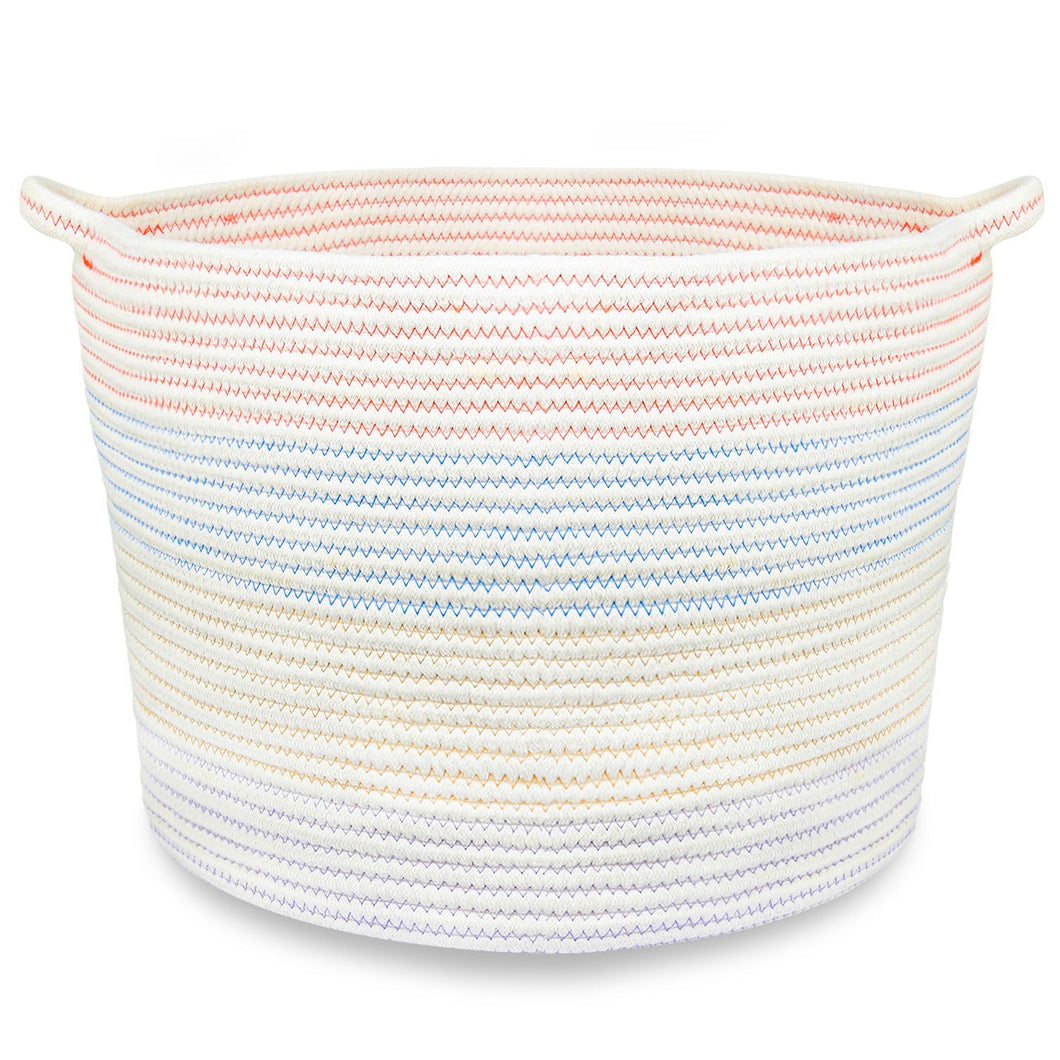 Cotton Rope Storage Basket with Handles for Laundry, Kid's Toys, Nursery, Home Decor, Closet Organization,18