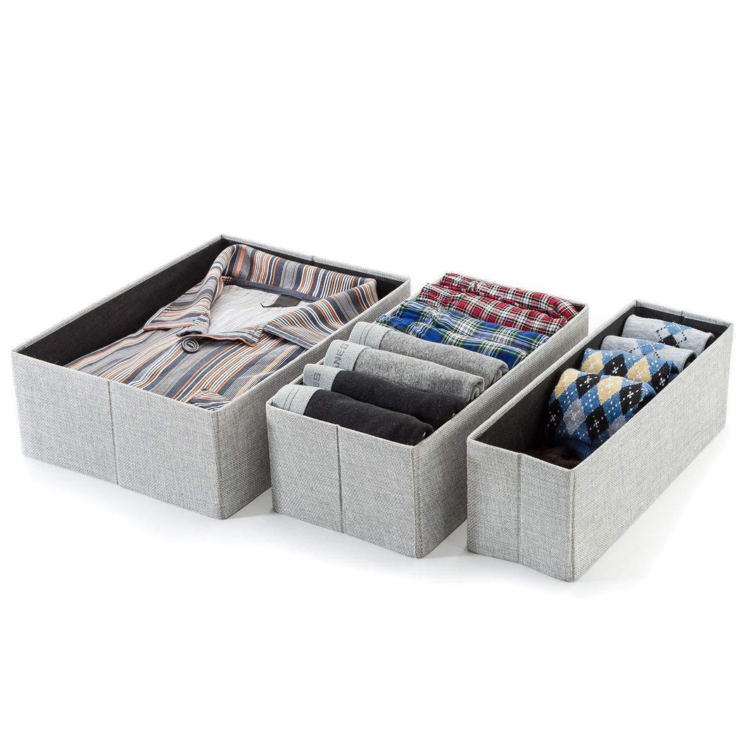 Foldable Closet Drawer Organizer, Set of 3 Storage Containers, Moisture, and Dust-Proof Storage Baskets- Beautiful Textured Fabric- Sturdy Build- Perfect for Home and Office (Gray Birch)