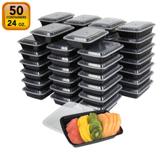 "20 PACK Premium Quality ""[24 OZ.]"" Meal Prep Plastic Rectangular Microwavable Food Containers meal prepping with Lids. Durable Reusable Storage Lunch"
