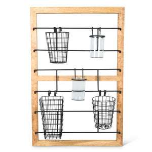 37.75-Inch Storage Solution Center with Mango Wood Frame and Metallic Bars for Hanging