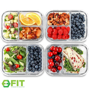 2 & 3 Compartment Glass Meal Prep Containers [4 Pack, 1000 ML] - Food...