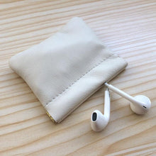 Genuine Leather Digit Data Bag Headphone Protective Case Auto Closing Coin Money Storage Container