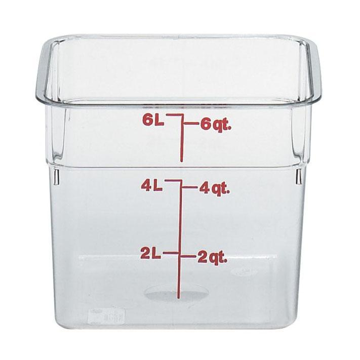 6PCE Cambro Square Polycarb Food Storage Container 5.7L Clear 6SFSCW