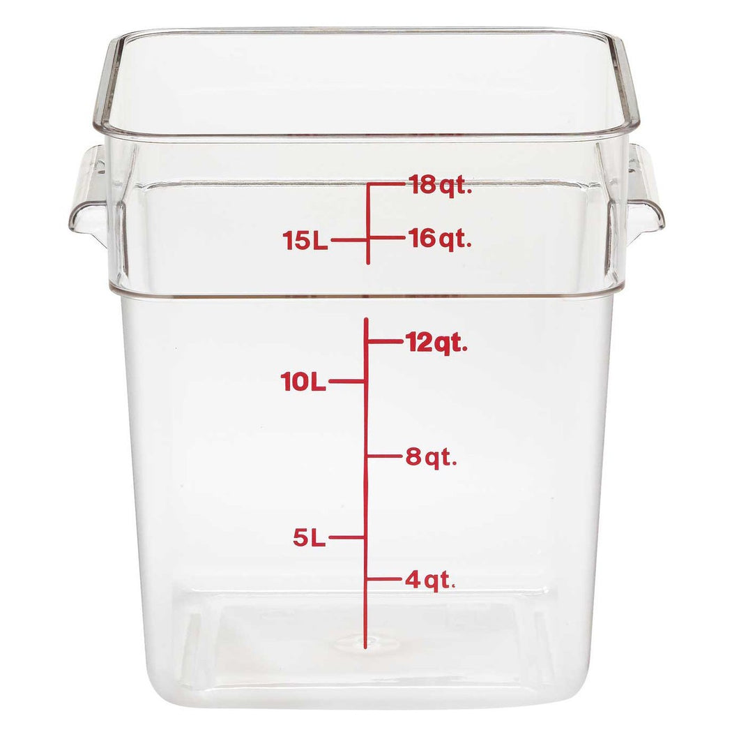 6PCE Cambro Square Polycarb Food Container 17.2L Clear 18SFSCW135