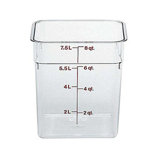 6PCE Cambro Square Polycarb Food Storage Container 7.6L Clear 8SFSCW