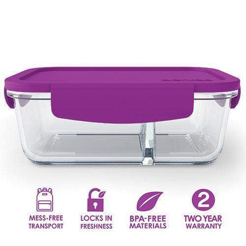 Bentgo Glass 2 Compartment Container Purple BGO-GLSM-PRP