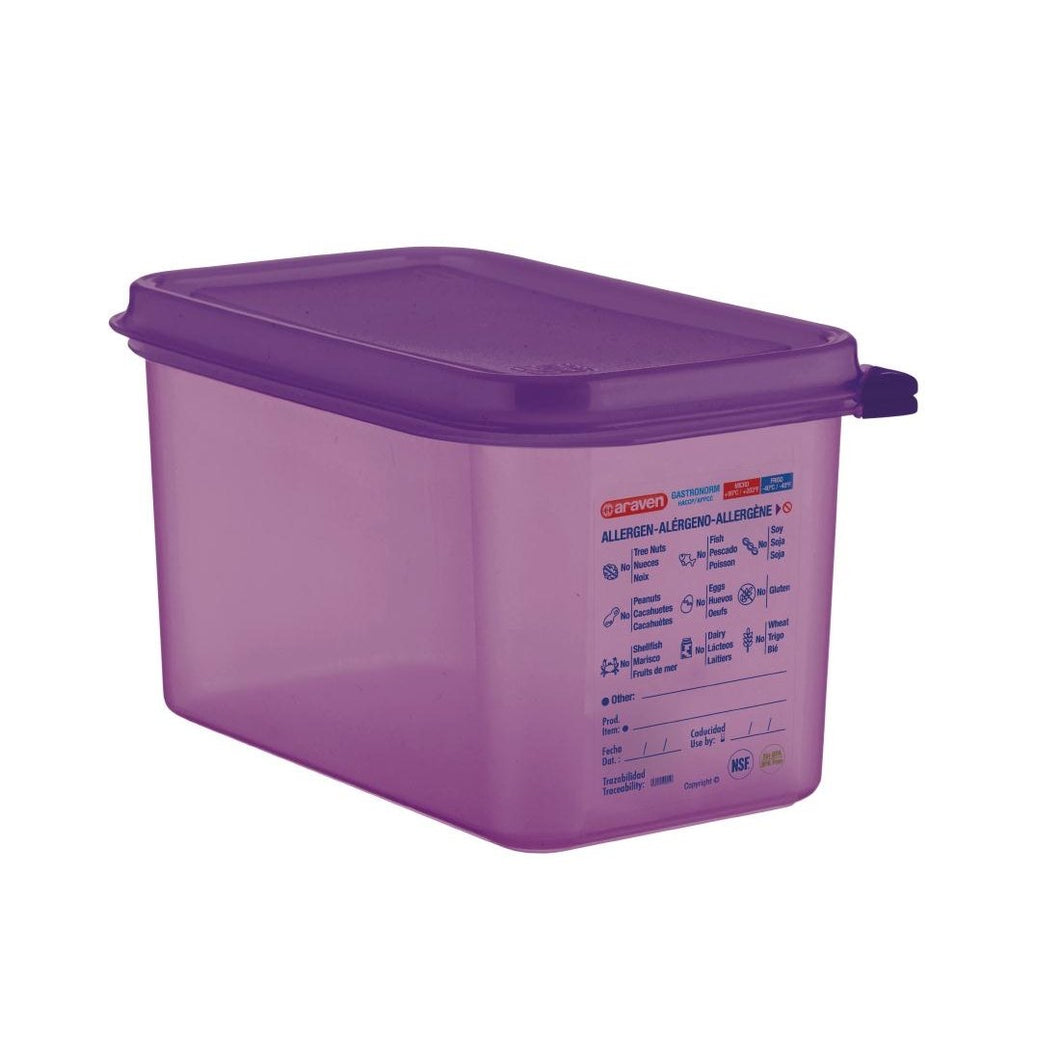 Araven Polypropylene 1/4 Gastronorm Food Storage Container Purple 4.3L