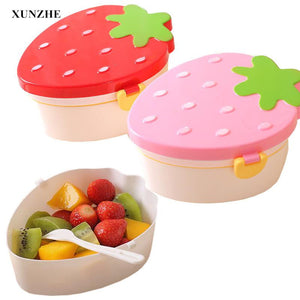 Creativity Strawberry Shape Children Lunch Boxs Food Fruit Storage Container Portable Bento Box Anti Leakage Picnic Container
