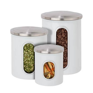 3-Piece Steel Canister Set, White