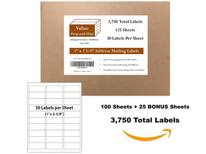 30-Up Labels, 125 Sheets Per Set, (3,750 Labels), Self-Adhesive White Labels, Use with Laser or Inkjet Printers, Print Mailing Address and FBA Labels