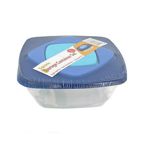 3 Pack square storage container set with lid ( Case of 12 )