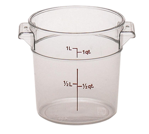 Cambro RFSCW1135 Camwear Storage Container, round, 1 qt., 6-1/16 dia. x 5H, durable polycarbonate construction, clear, NSF