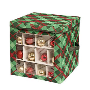 Ornament Storage Container, Very Merry Plaid