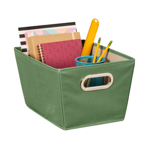 Small Storage Bin with Handles, Green