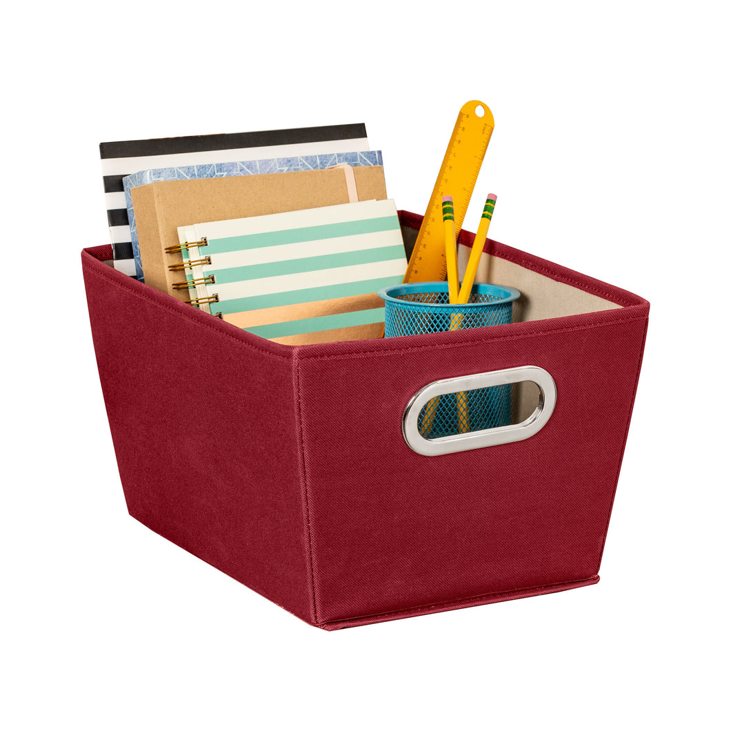 Small Storage Bin with Handles, Red