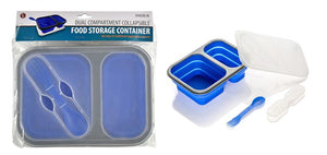 SE STW236-BL Collapsible Food Container with 2 Compartments Includes Utensils