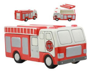 "Ceramic Large 911 Vintage Fire Engine Cookie Jar 10.25""Long Kitchen Accessory"